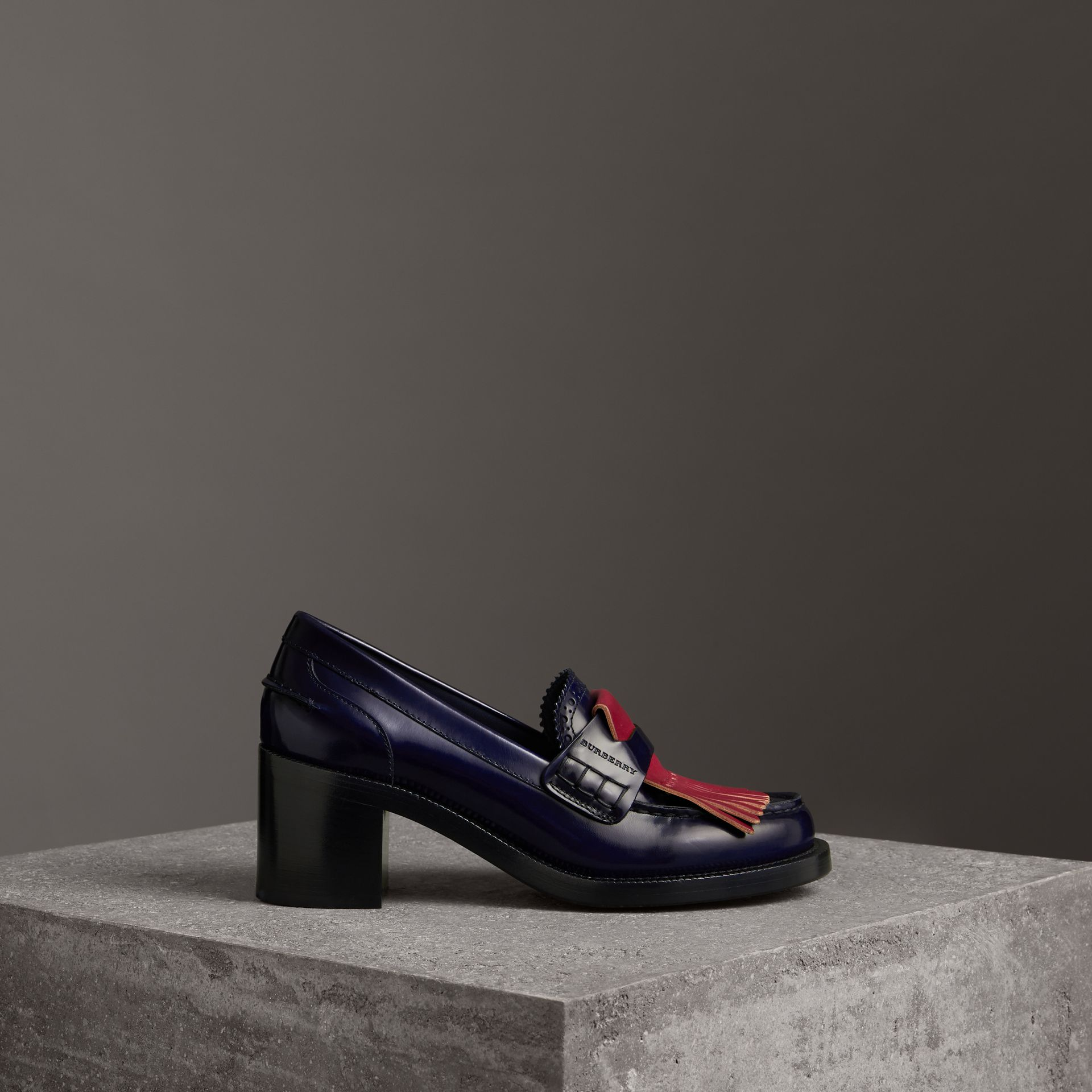 Contrast Kiltie Fringe Leather Block-heel Loafers in Navy - Women | Burberry - gallery image 0
