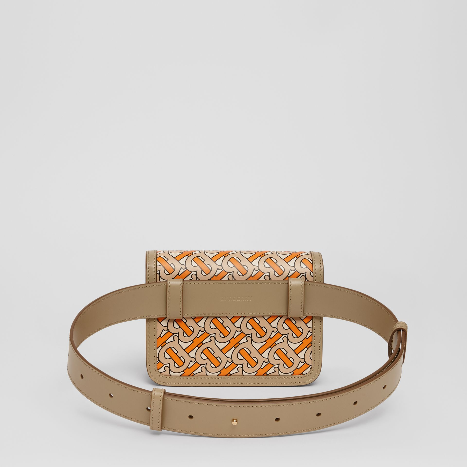 Belted Monogram Print Leather TB Bag in Bright Orange - Women | Burberry Australia - gallery image 6