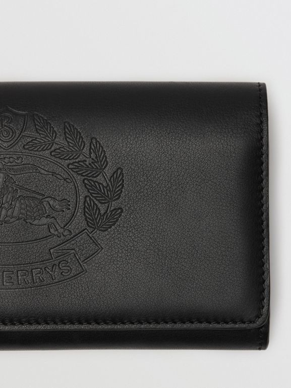 Embossed Crest Two-tone Leather Continental Wallet in Black - Women | Burberry - cell image 1