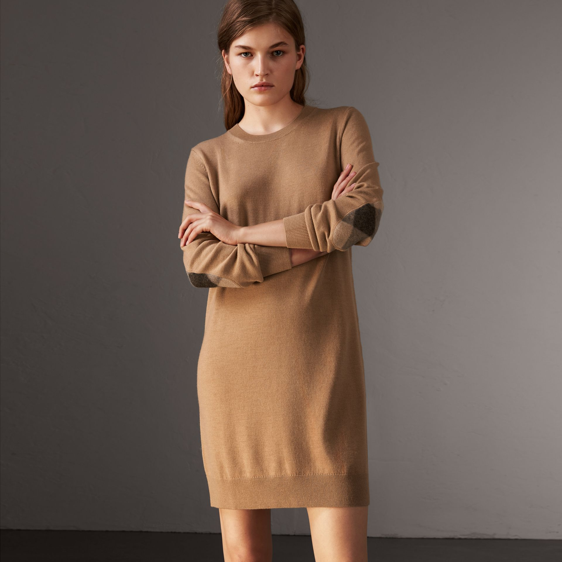 Check Elbow Detail Merino Wool Sweater Dress in Camel - Women | Burberry - gallery image 0