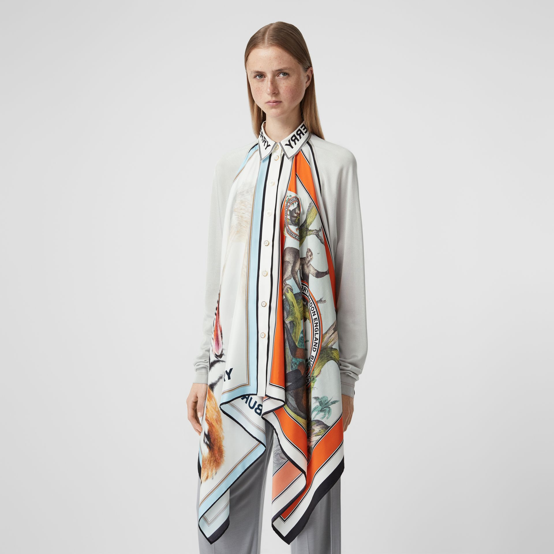 Animalia Print Silk Scarf Detail Knitted Top in Porcelain - Women | Burberry United States - gallery image 5
