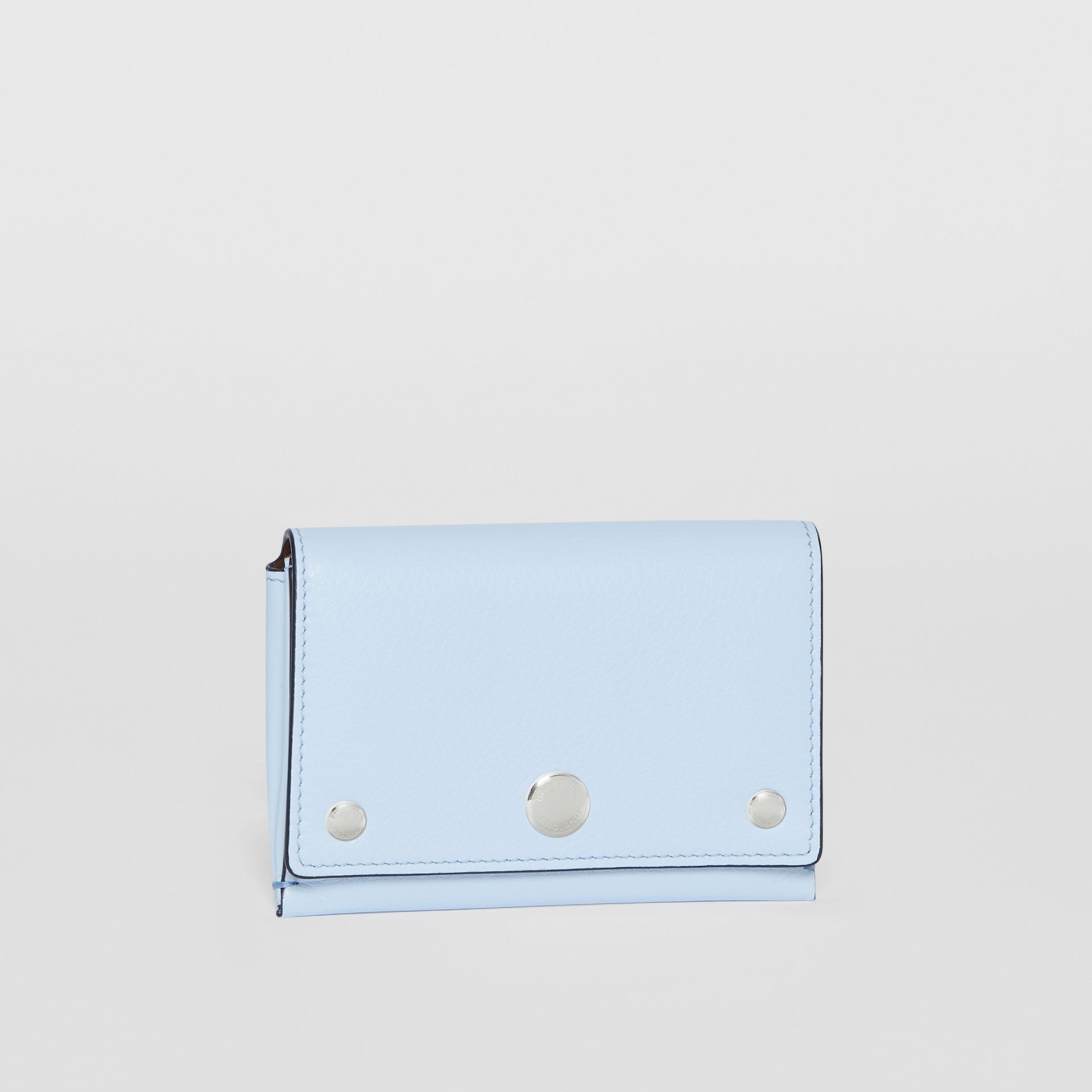 Triple Stud Leather Folding Wallet in Pale Blue - Women | Burberry Singapore - gallery image 3