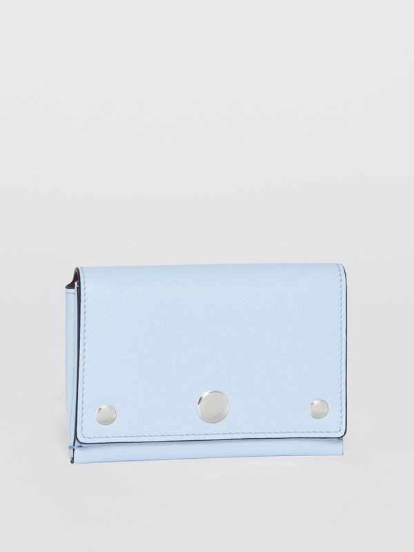 Triple Stud Leather Folding Wallet in Pale Blue - Women | Burberry Singapore - cell image 3