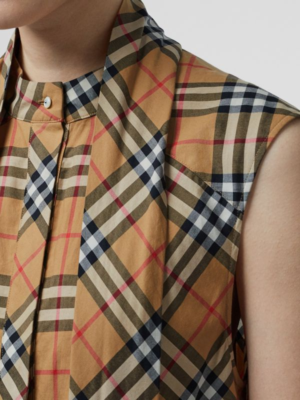Vintage Check Cotton Tie-neck Dress in Antique Yellow - Women | Burberry - cell image 3