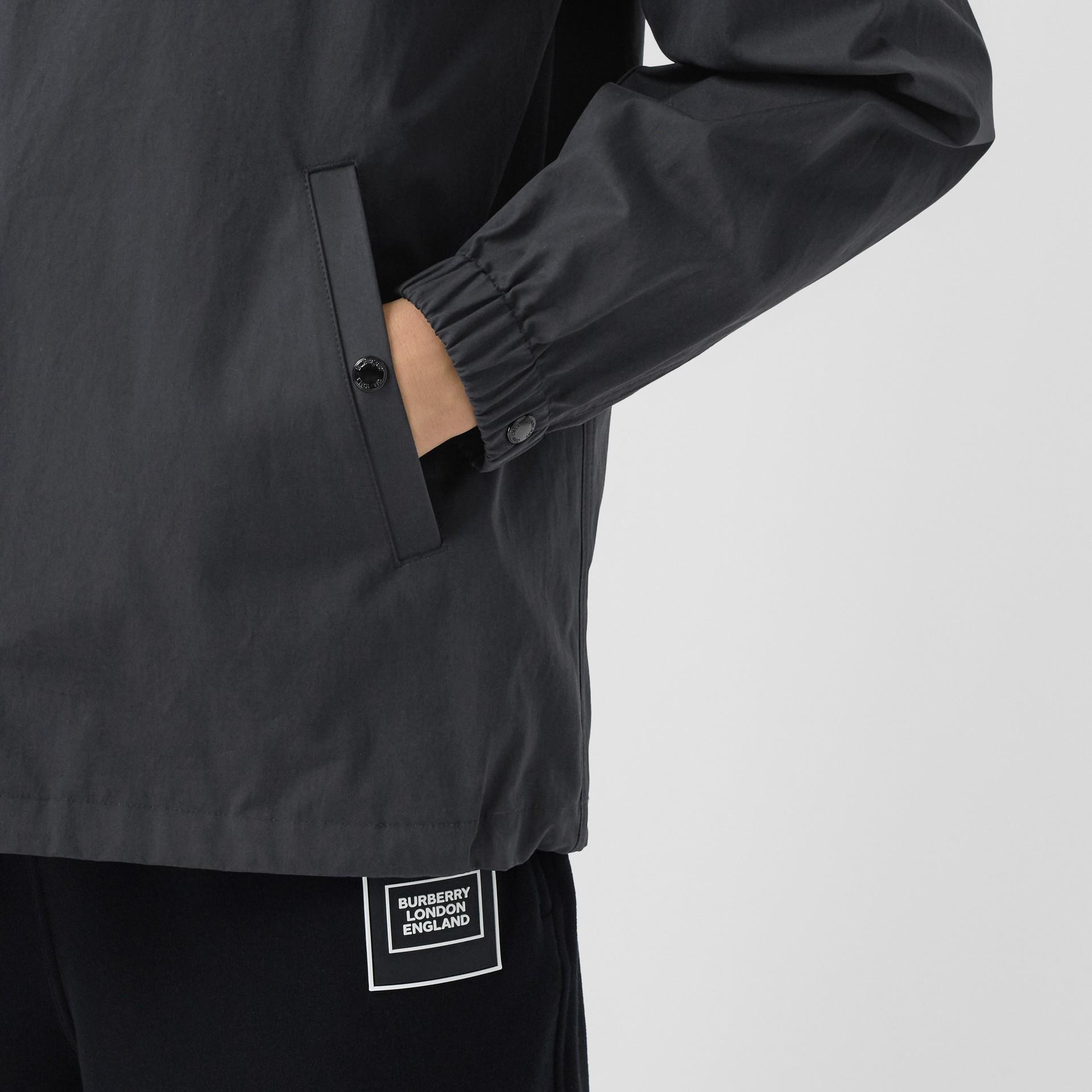 Detachable Hood Logo Appliqué Lightweight Jacket in Navy - Men | Burberry - gallery image 1