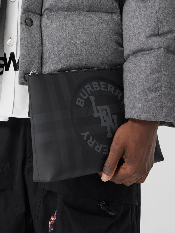 Logo Graphic London Check Zip Pouch in Dark Charcoal - Men | Burberry Hong Kong S.A.R - cell image 2