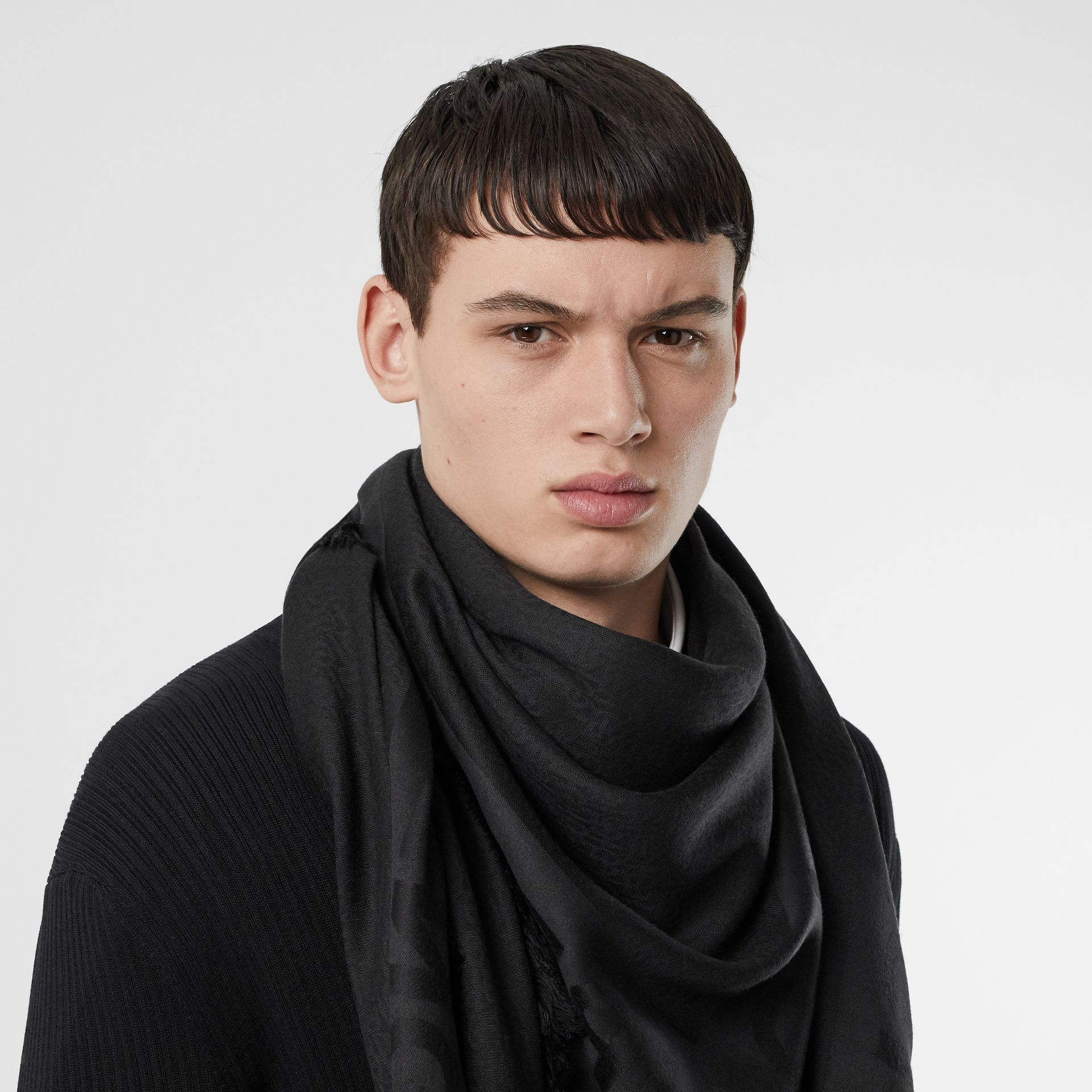 Monogram Silk Wool Jacquard Large Square Scarf in Black | Burberry - gallery image 3