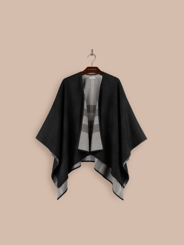 Check-Lined Wool Poncho in Charcoal - Women | Burberry - cell image 3