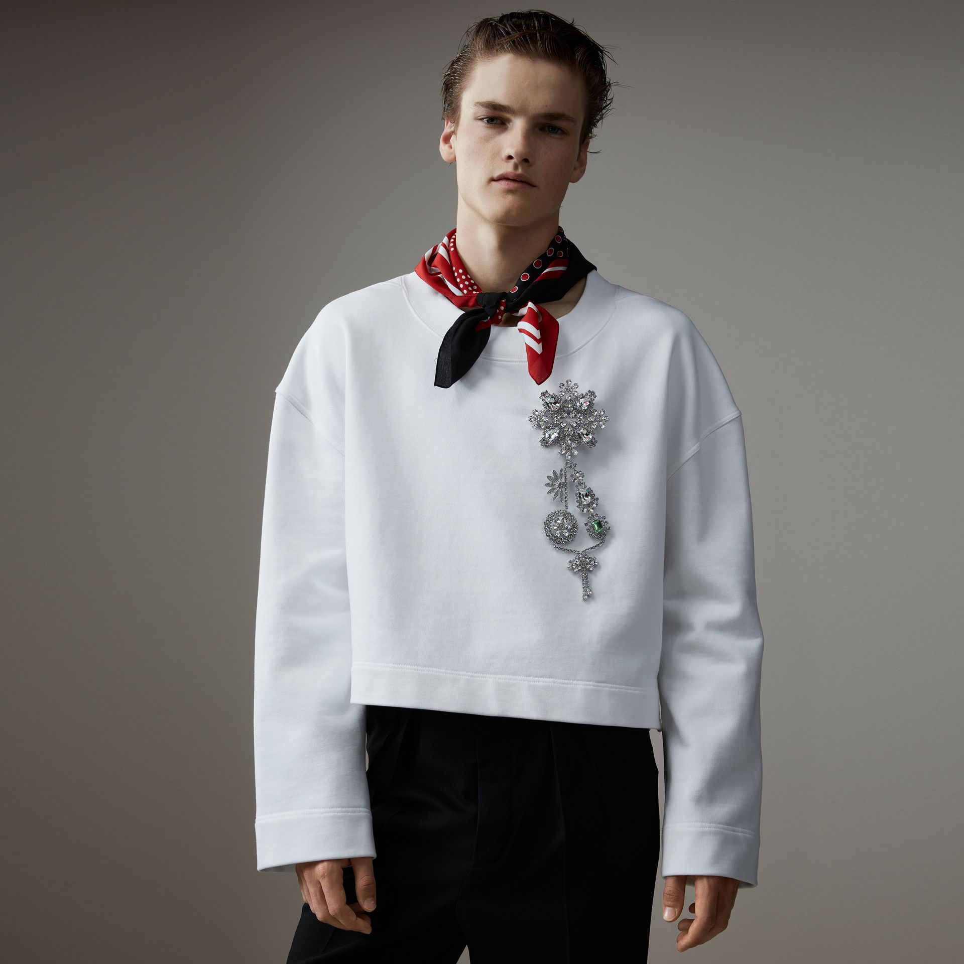 Cotton Cropped Sweatshirt with Crystal Brooch in Optic White - Men | Burberry Australia - gallery image 0