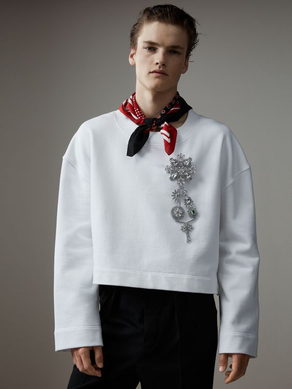 Cotton Cropped Sweatshirt with Crystal Brooch in Optic White