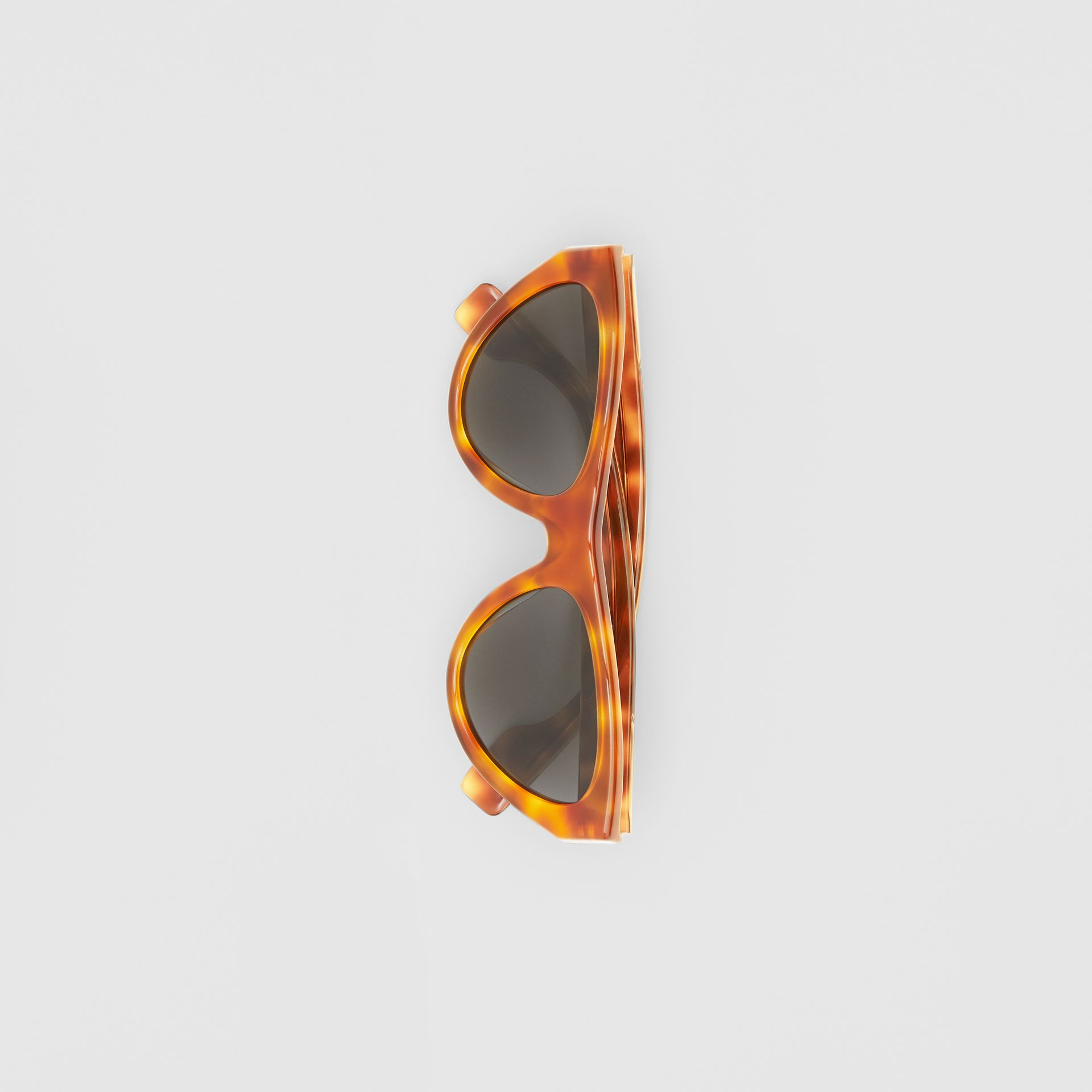 Triangular Frame Sunglasses in Amber Tortoiseshell - Women | Burberry - gallery image 3