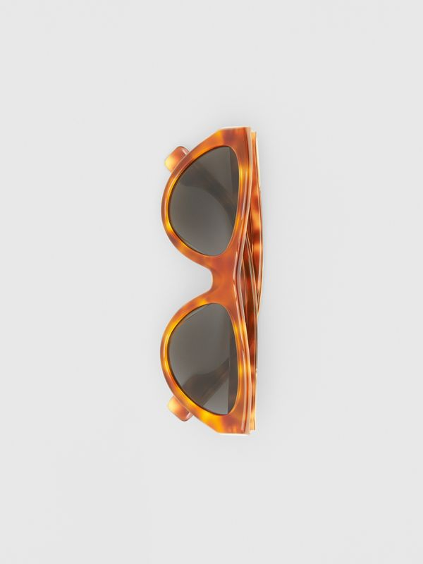 Triangular Frame Sunglasses in Amber Tortoiseshell - Women | Burberry - cell image 3
