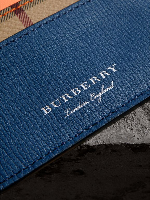 Haymarket Check and Two-tone Leather Card Case in Bright Orange | Burberry - cell image 1