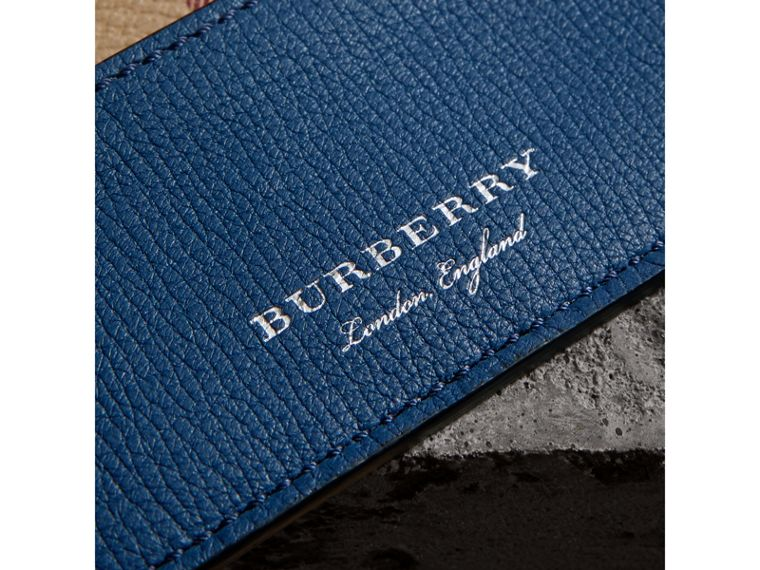 Haymarket Check and Two-tone Leather Card Case in Bright Orange - Men | Burberry - cell image 1