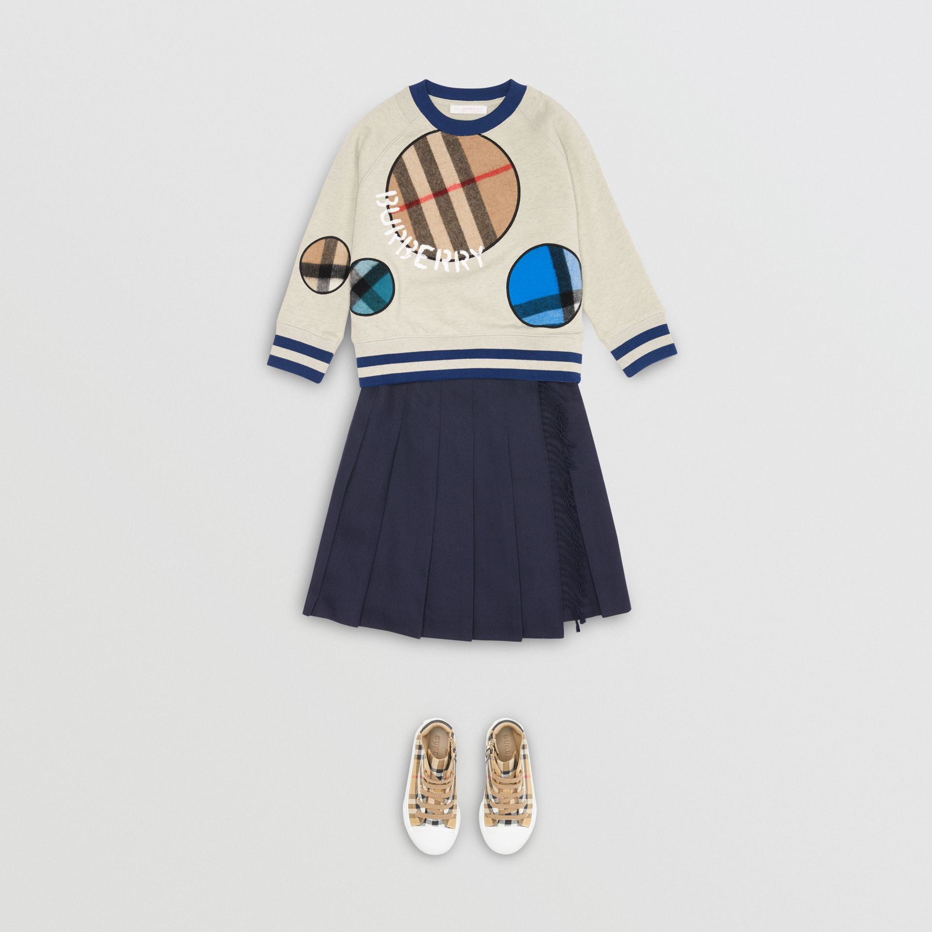 Check Appliqué Cotton Sweatshirt in Multicolour | Burberry - gallery image 2