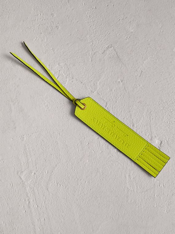 Embossed Leather Bookmark in Bright Yellow