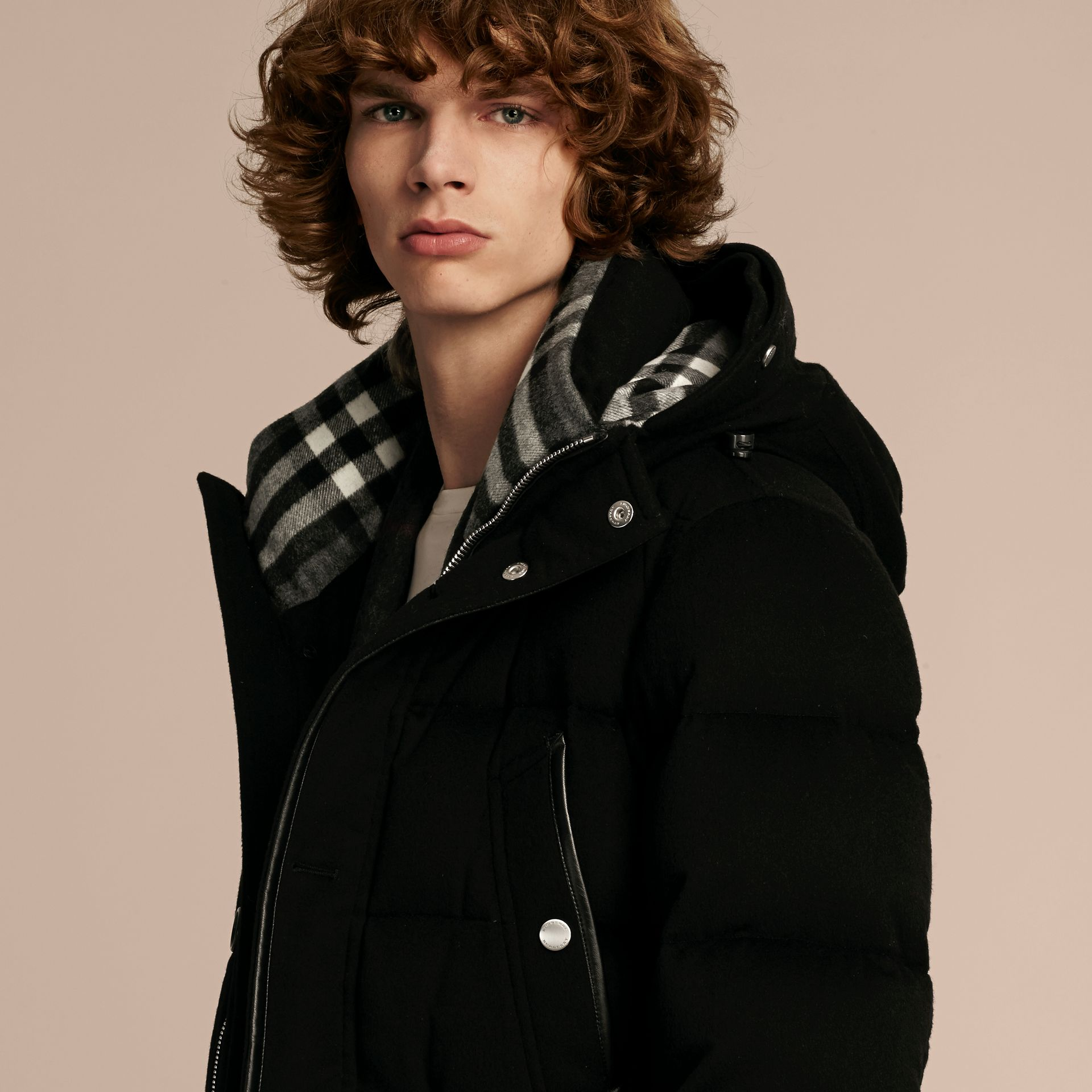 Black Down-filled Cashmere Parka with Detachable Fur Trim Black - gallery image 5