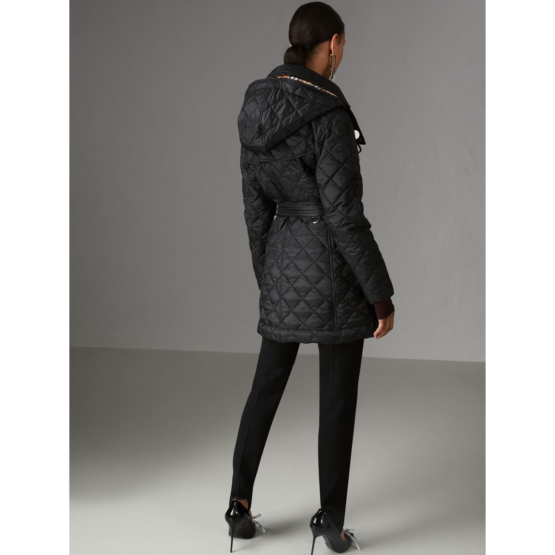 Detachable Hood Lightweight Diamond Quilted Coat in Black - Women | Burberry United States - gallery image 2