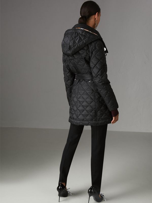 Detachable Hood Lightweight Diamond Quilted Coat in Black - Women | Burberry - cell image 2