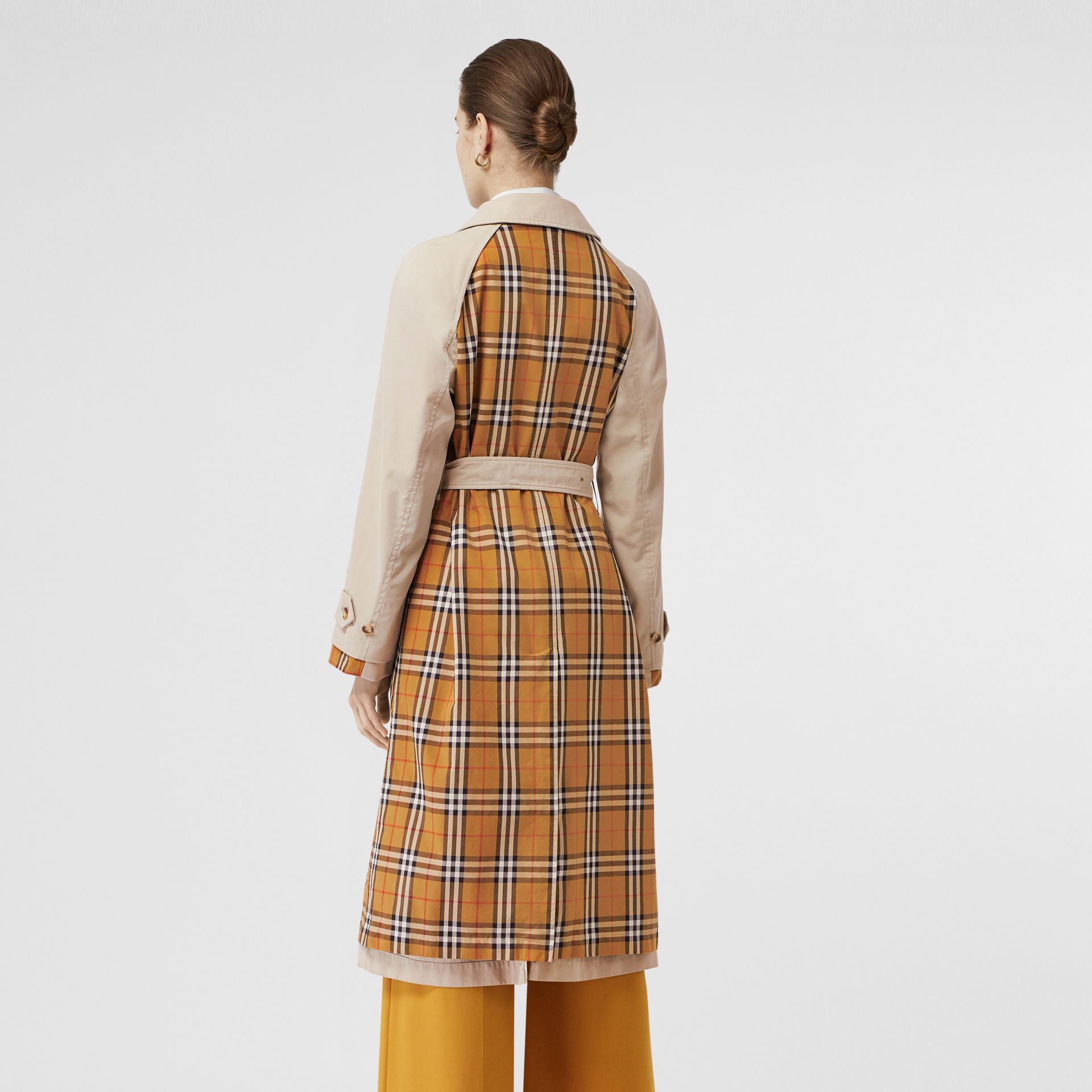 Vintage Check and Tropical Gabardine Car Coat in Stone - Women | Burberry - gallery image 2