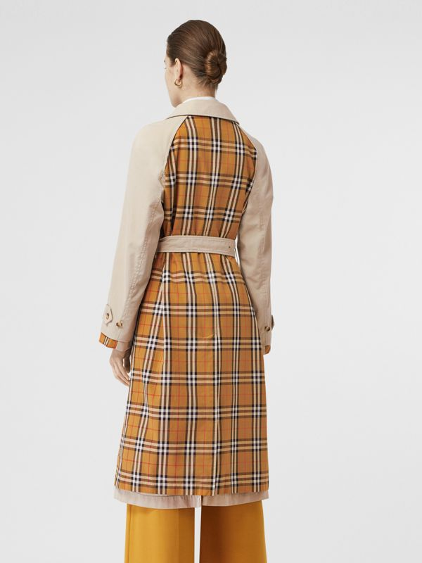 Vintage Check and Tropical Gabardine Car Coat in Stone - Women | Burberry - cell image 2