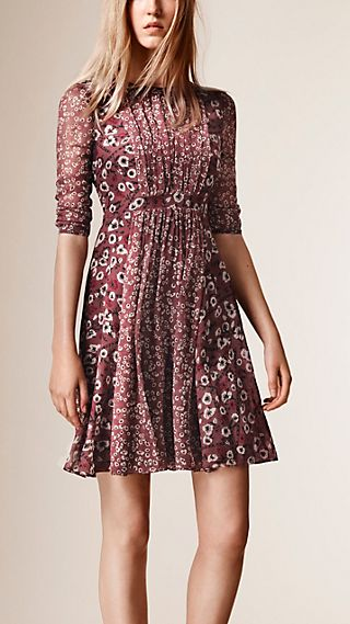 Floral Print Silk Crepe Dress