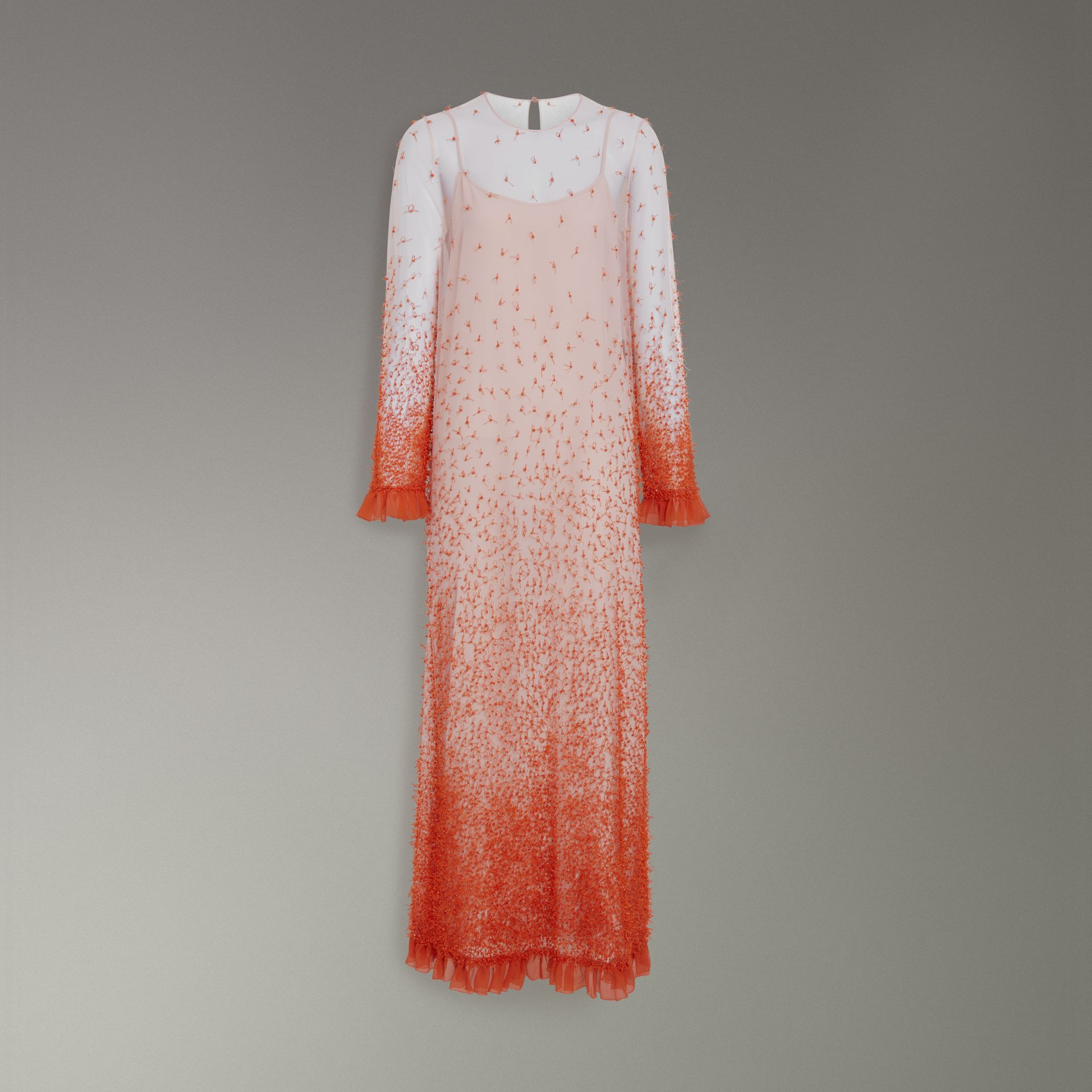Dégradé Hand-beaded Crepon Dress in Coral - Women | Burberry Singapore - gallery image 3