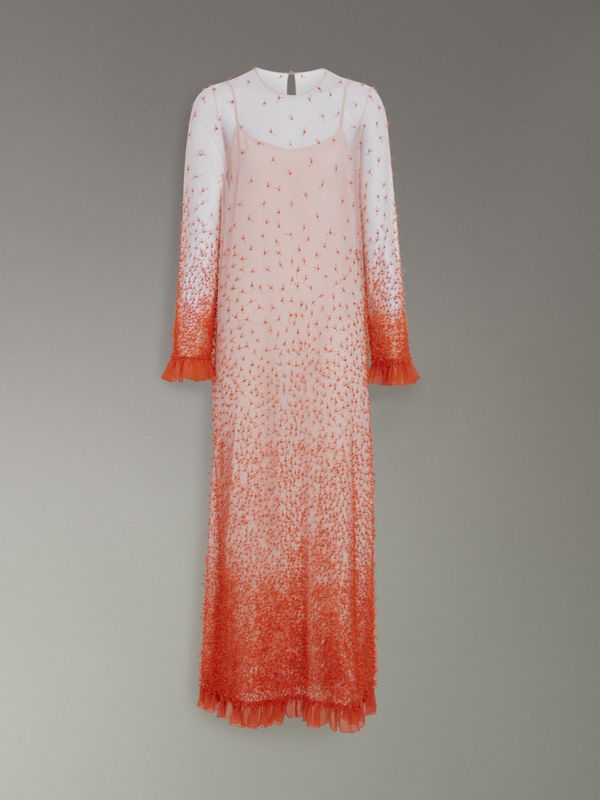 Dégradé Hand-beaded Crepon Dress in Coral - Women | Burberry Singapore - cell image 3