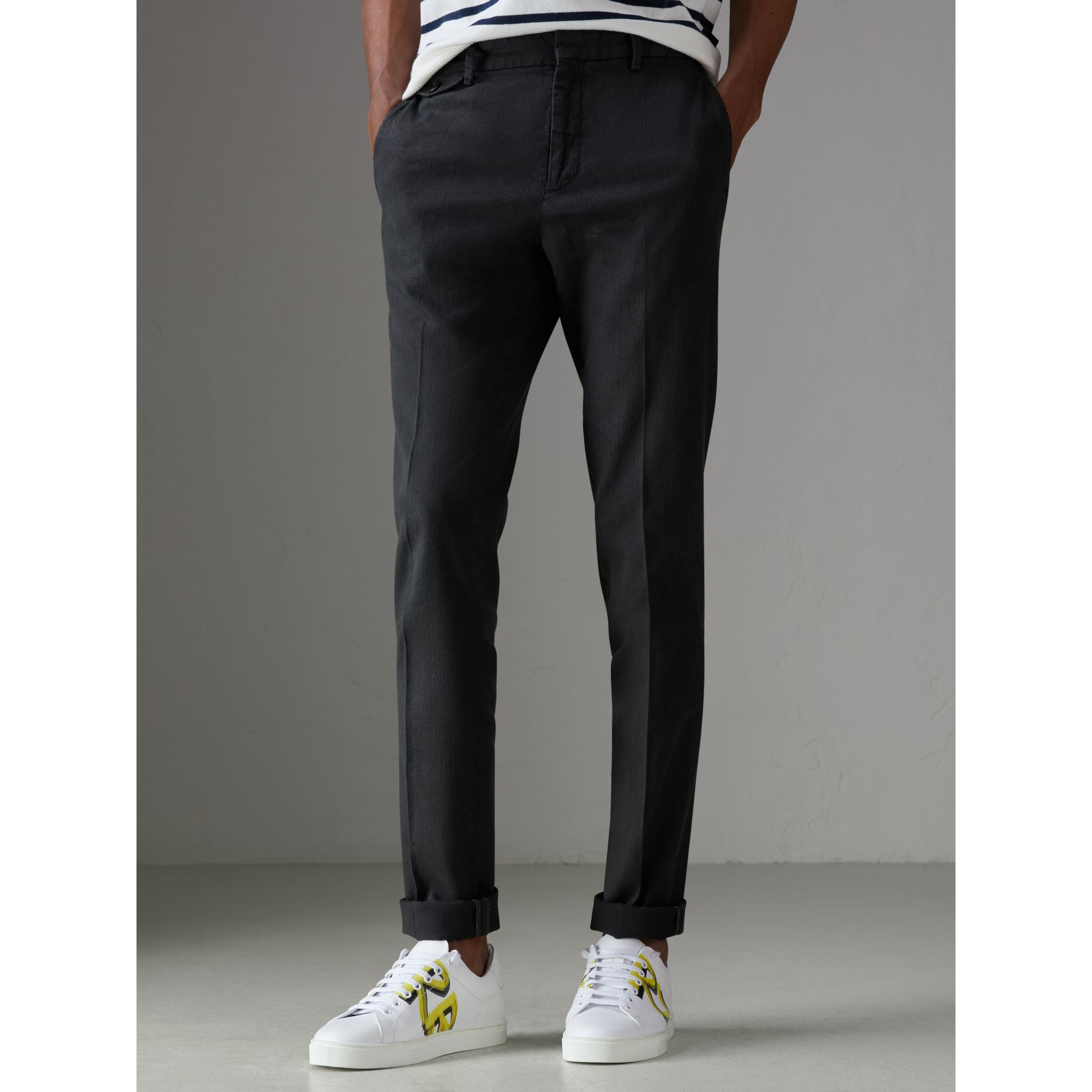 Linen Cotton Tailored Trousers in Dark Charcoal - Men | Burberry Australia - gallery image 4