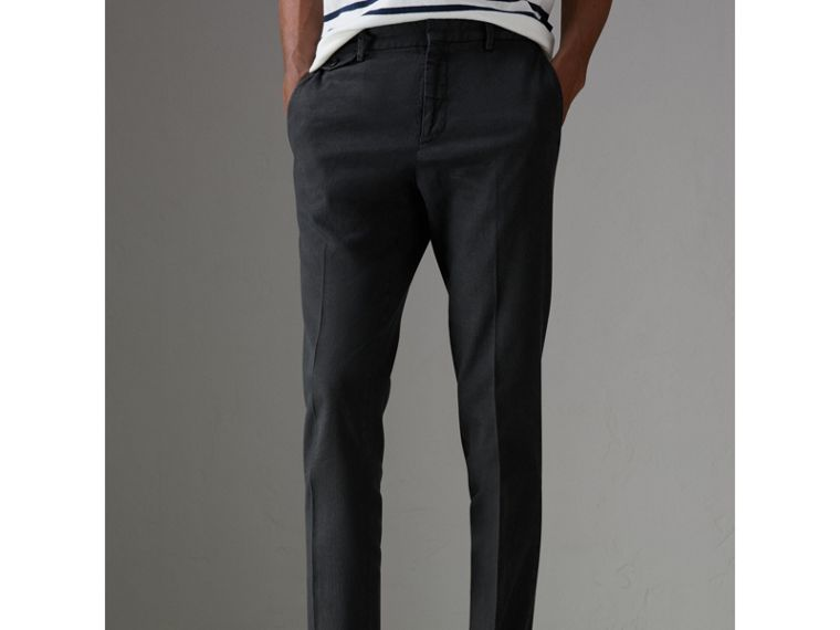 Linen Cotton Tailored Trousers in Dark Charcoal - Men | Burberry Canada - cell image 4