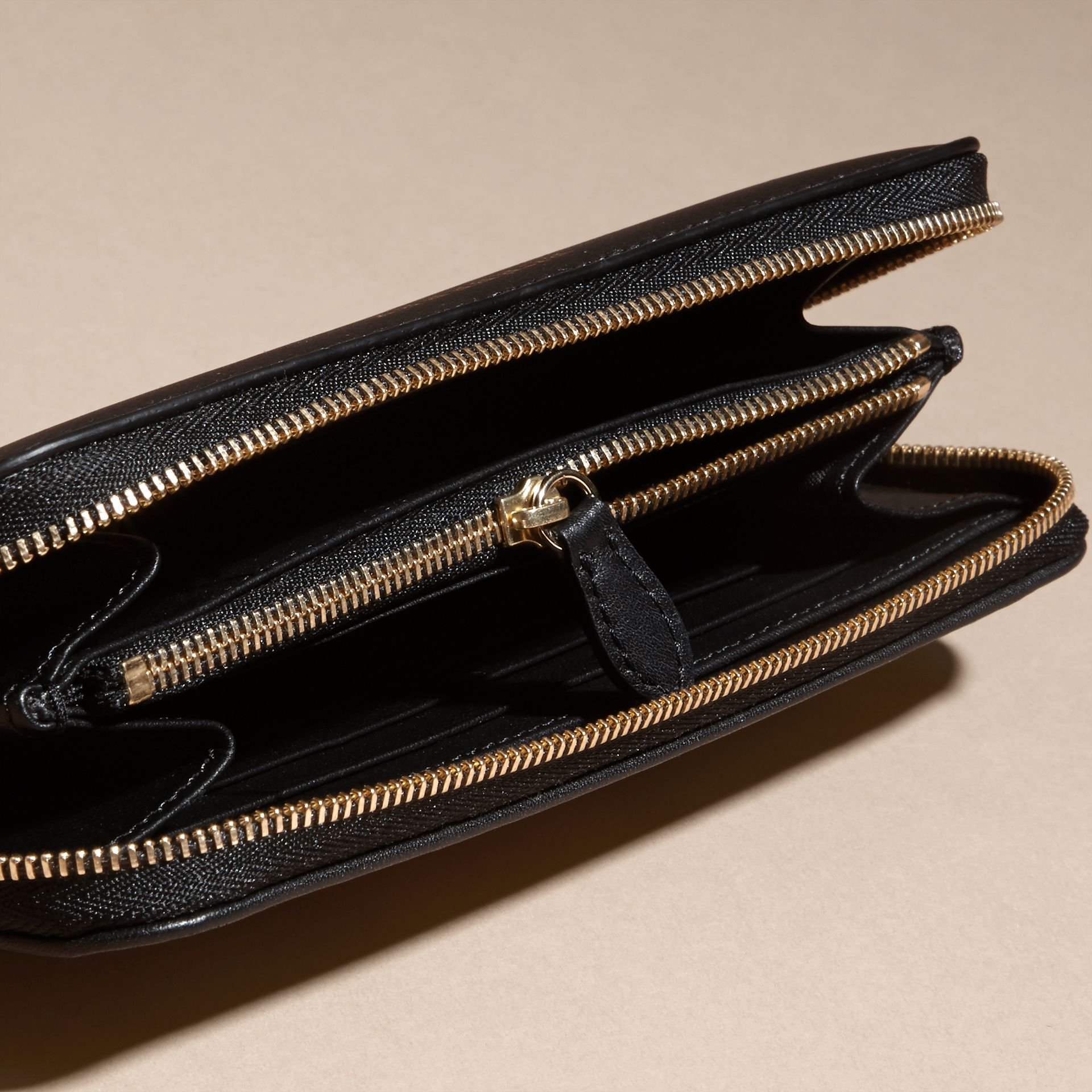 Black Horseferry Check and Leather Ziparound Wallet Black - gallery image 5