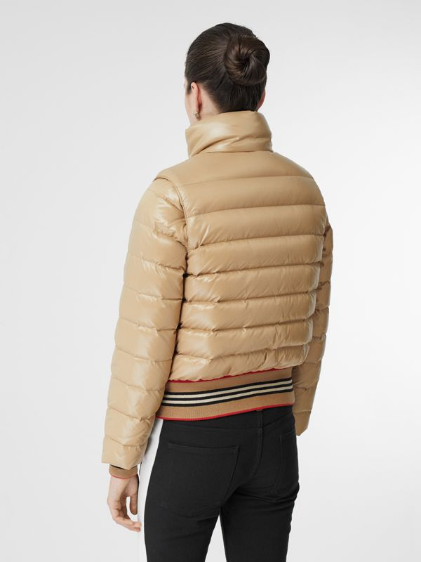 Detachable Sleeve Icon Stripe Detail Puffer Jacket in Honey - Women | Burberry - cell image 2