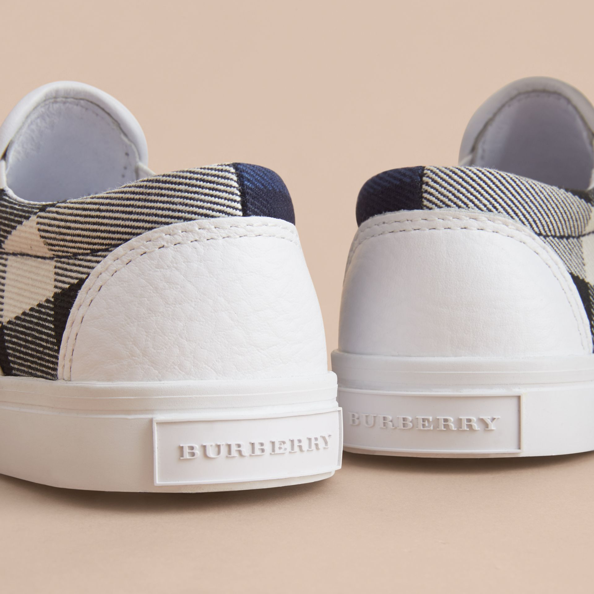 Tonal House Check and Leather Slip-on Trainers in Bright Sapphire - Children | Burberry - gallery image 2