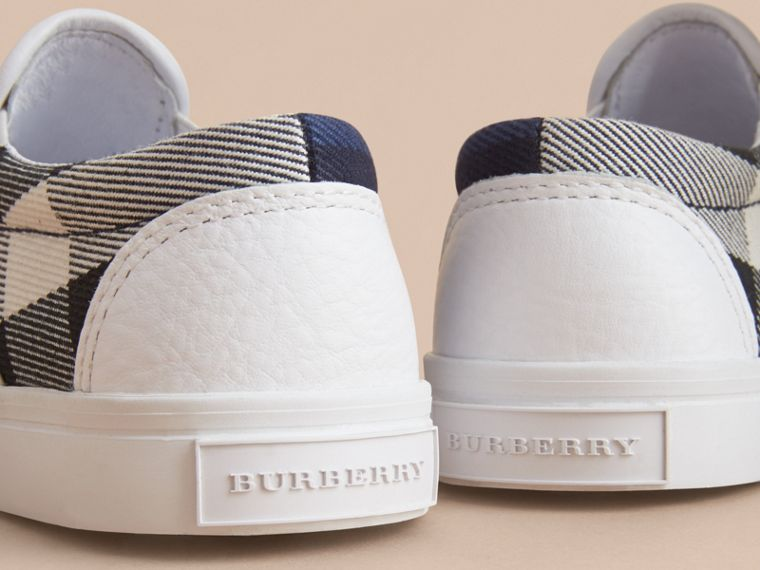Tonal House Check and Leather Slip-on Trainers in Bright Sapphire - Children | Burberry - cell image 1