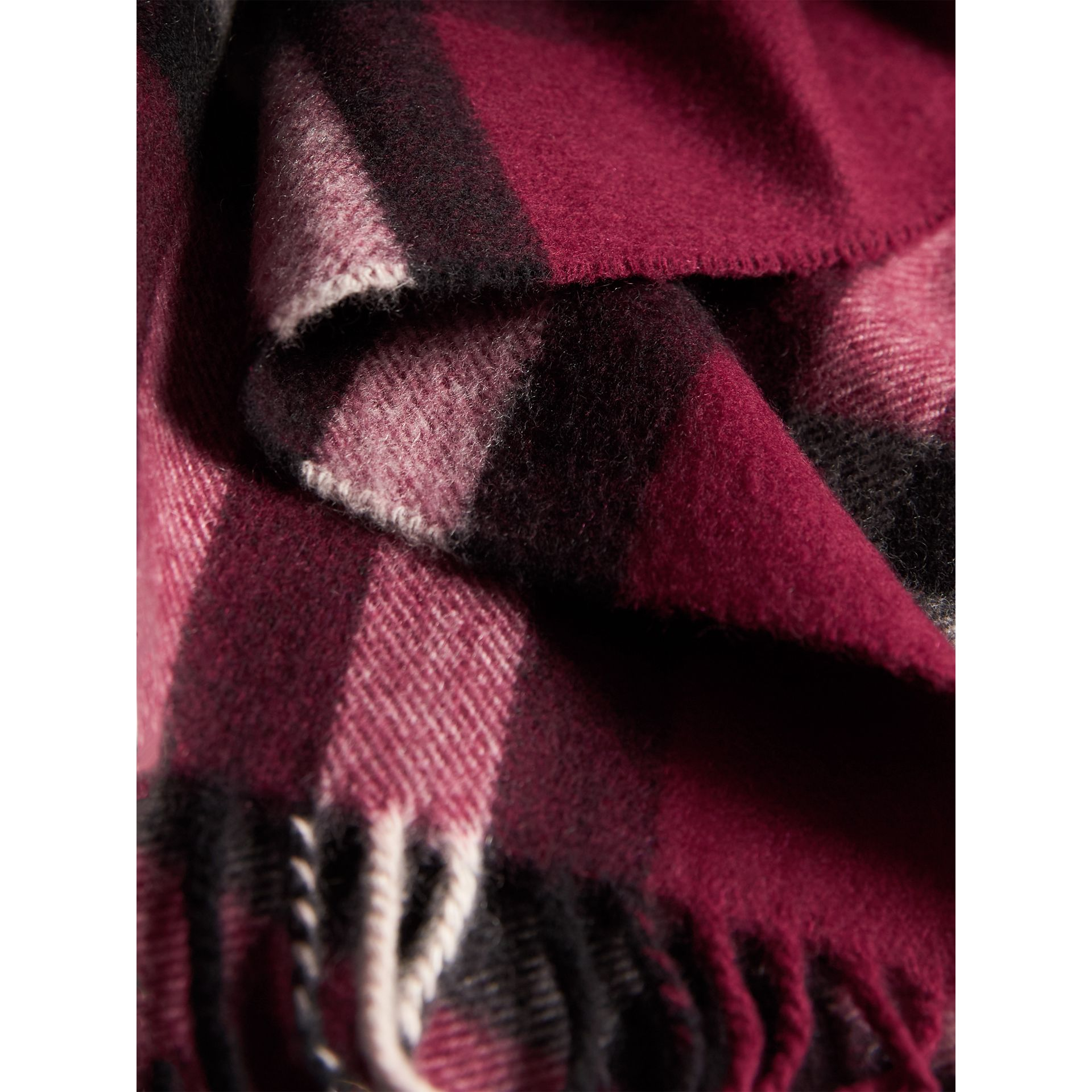 The Classic Check Cashmere Scarf in Plum | Burberry United Kingdom - gallery image 3