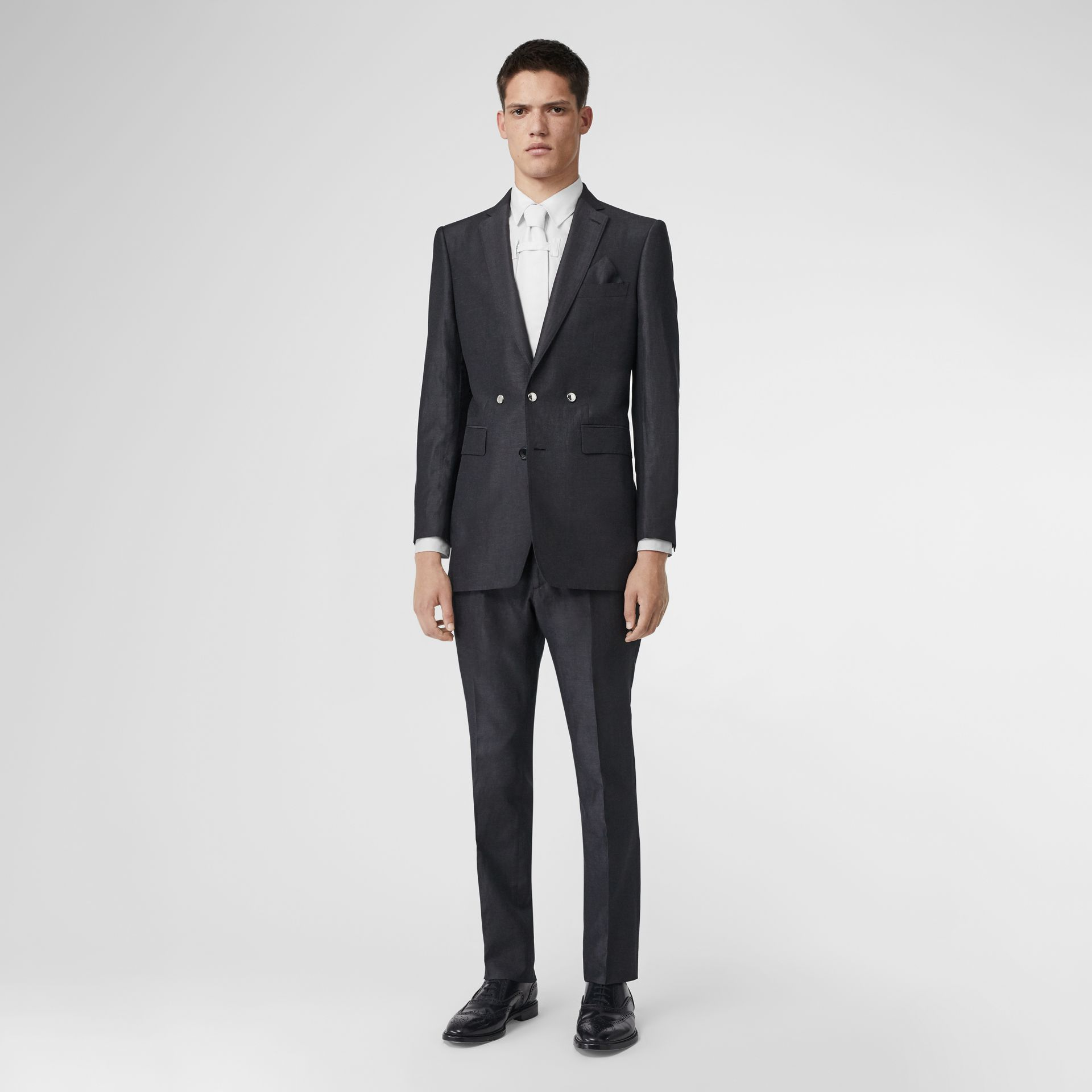 English Fit Triple Stud Silk Linen Tailored Jacket in Silver Grey | Burberry - gallery image 5