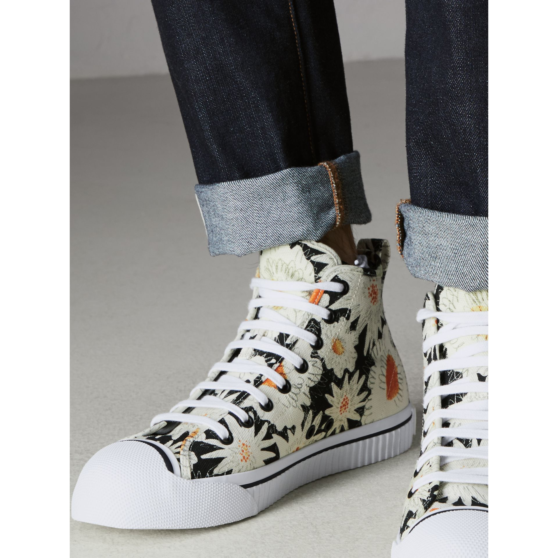 Daisy Print Canvas High-top Sneakers in Black - Men | Burberry - gallery image 2