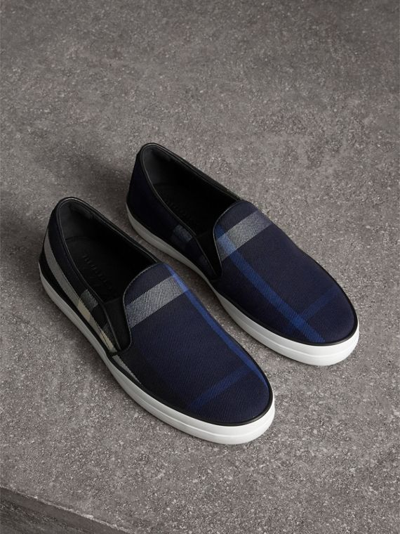 Overdyed House Check Cotton Slip-on Trainers in Indigo Blue