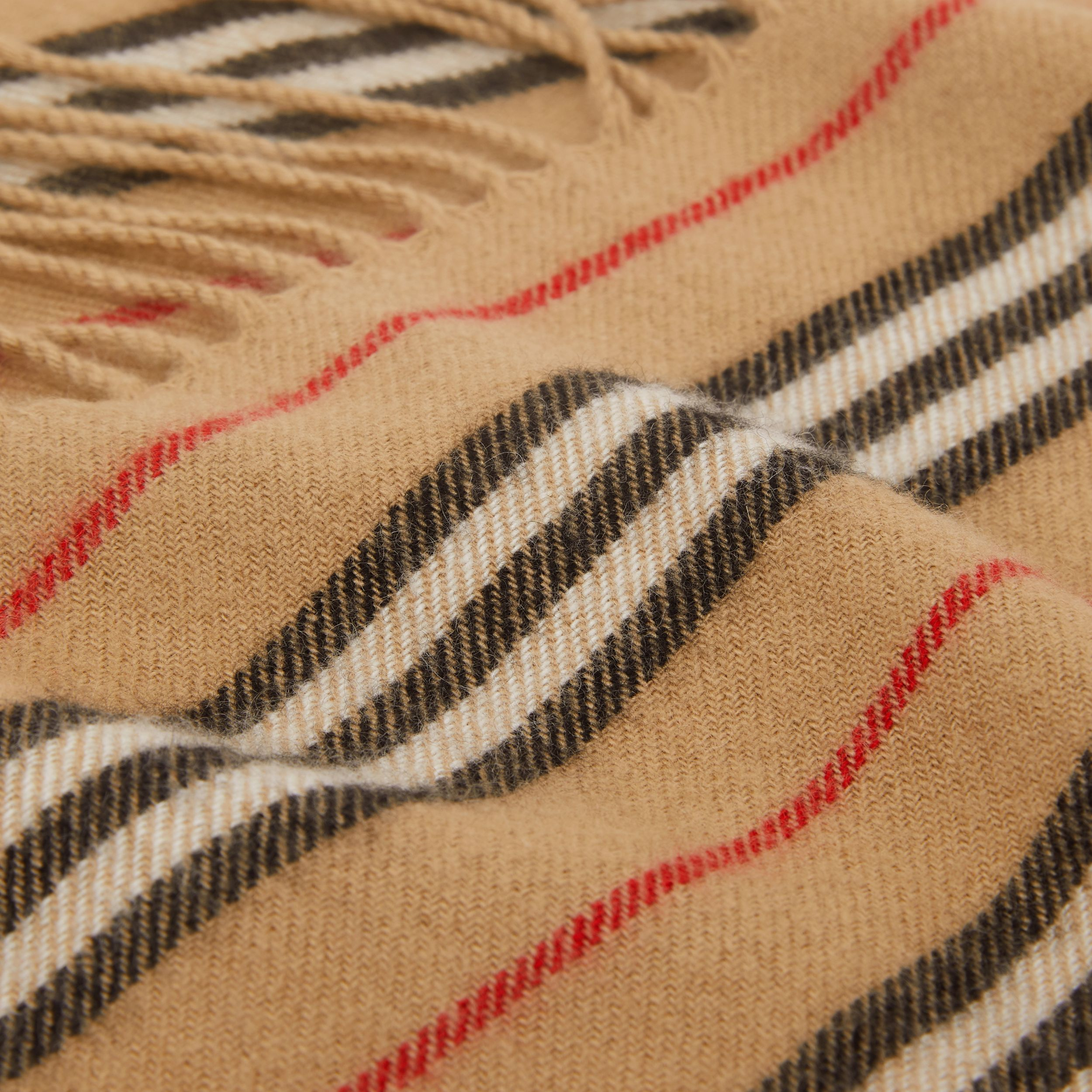 Fringed Icon Stripe Cashmere Scarf in Archive Beige - Children | Burberry - 2