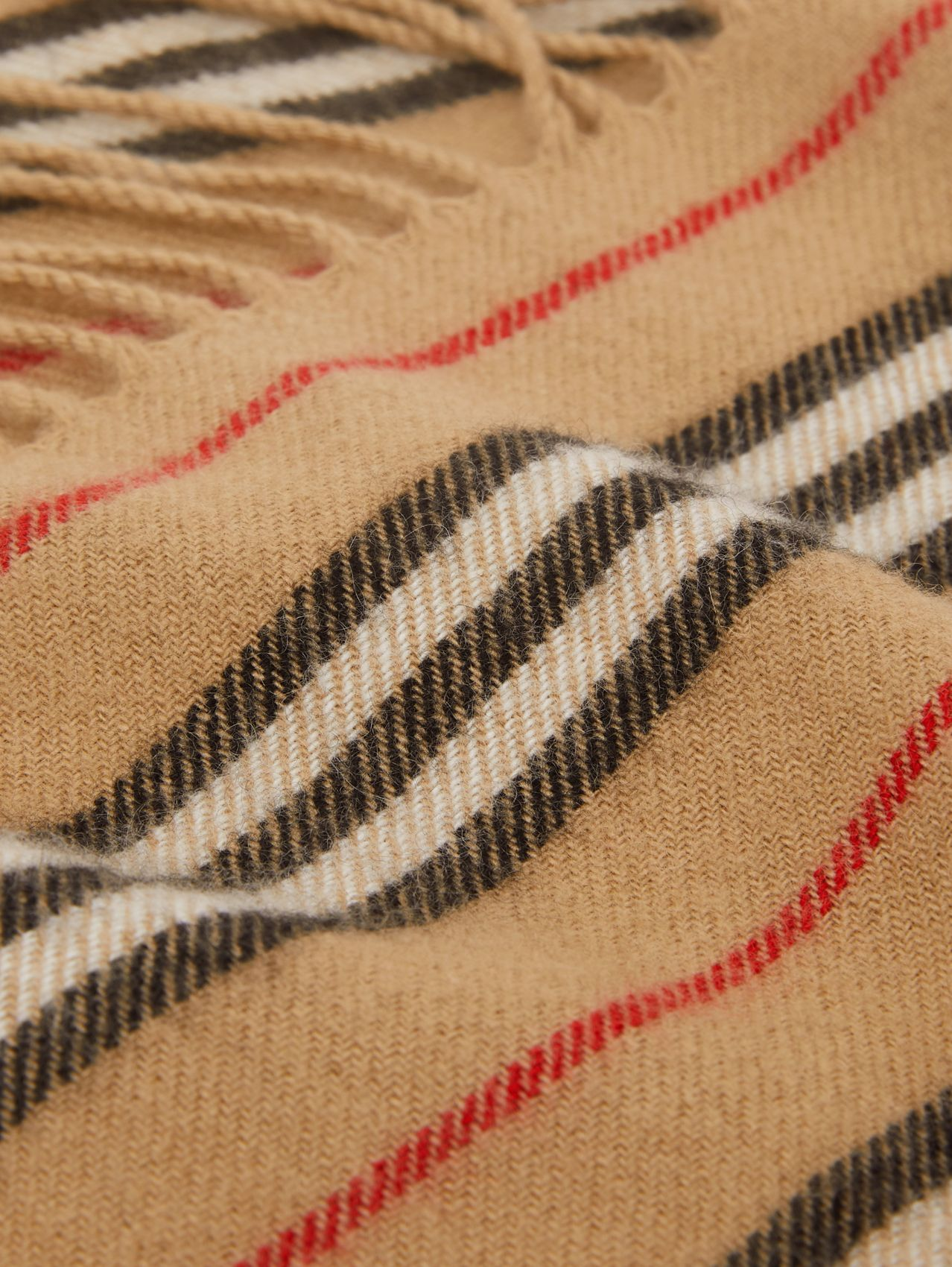 Fringed Icon Stripe Cashmere Scarf (Archive Beige)