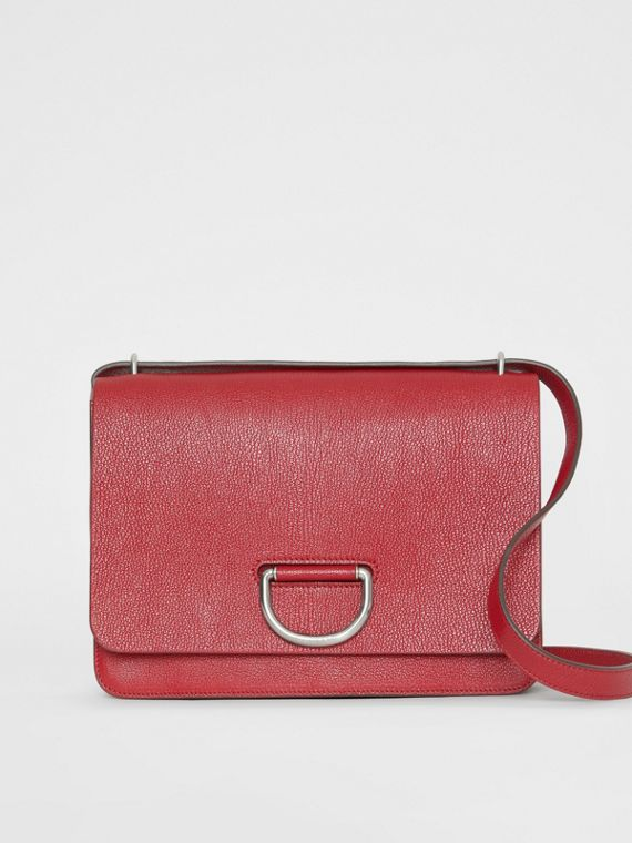The Medium Leather D-ring Bag in Crimson