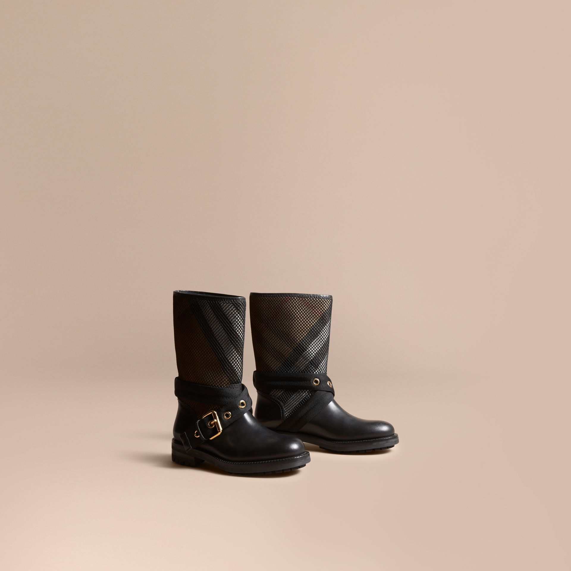 Leather, Mesh and House Check Boots in Black - Women | Burberry - gallery image 1