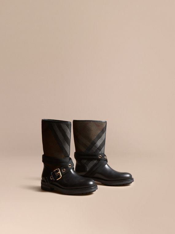 Stivali in pelle, rete e motivo tartan House check - Donna | Burberry