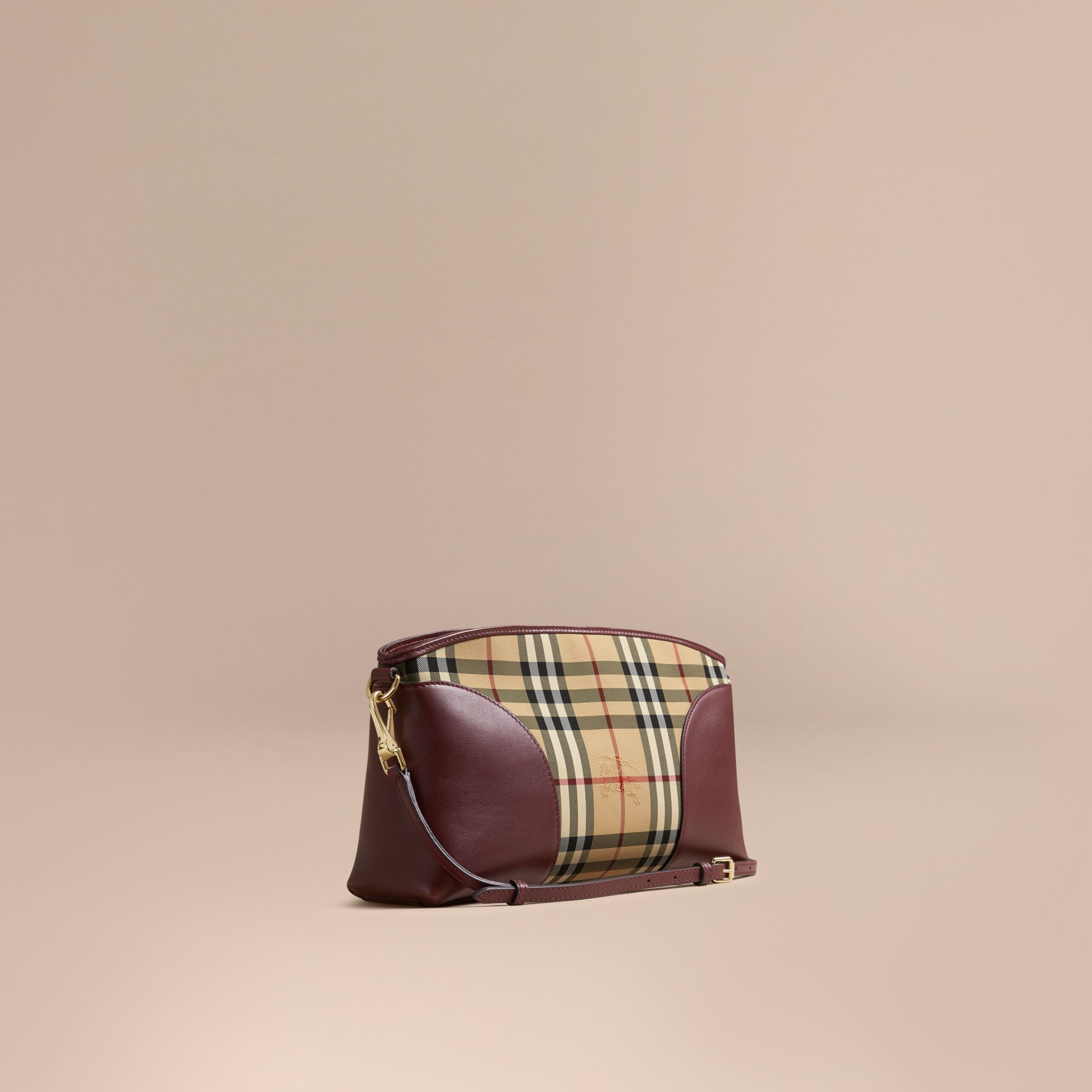 Honey/deep claret Horseferry Check and Leather Clutch Bag Honey/deep Claret - gallery image 1
