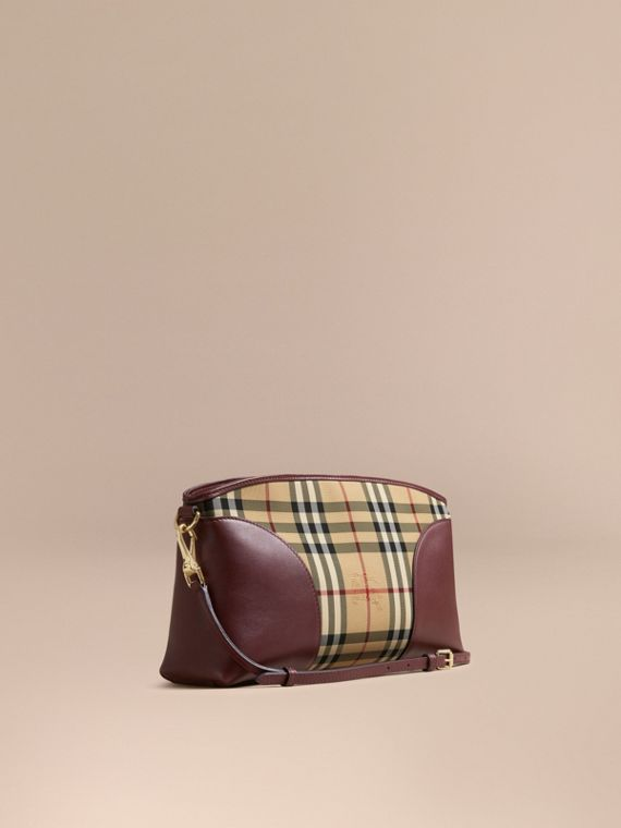 Horseferry Check and Leather Clutch Bag Honey/deep Claret