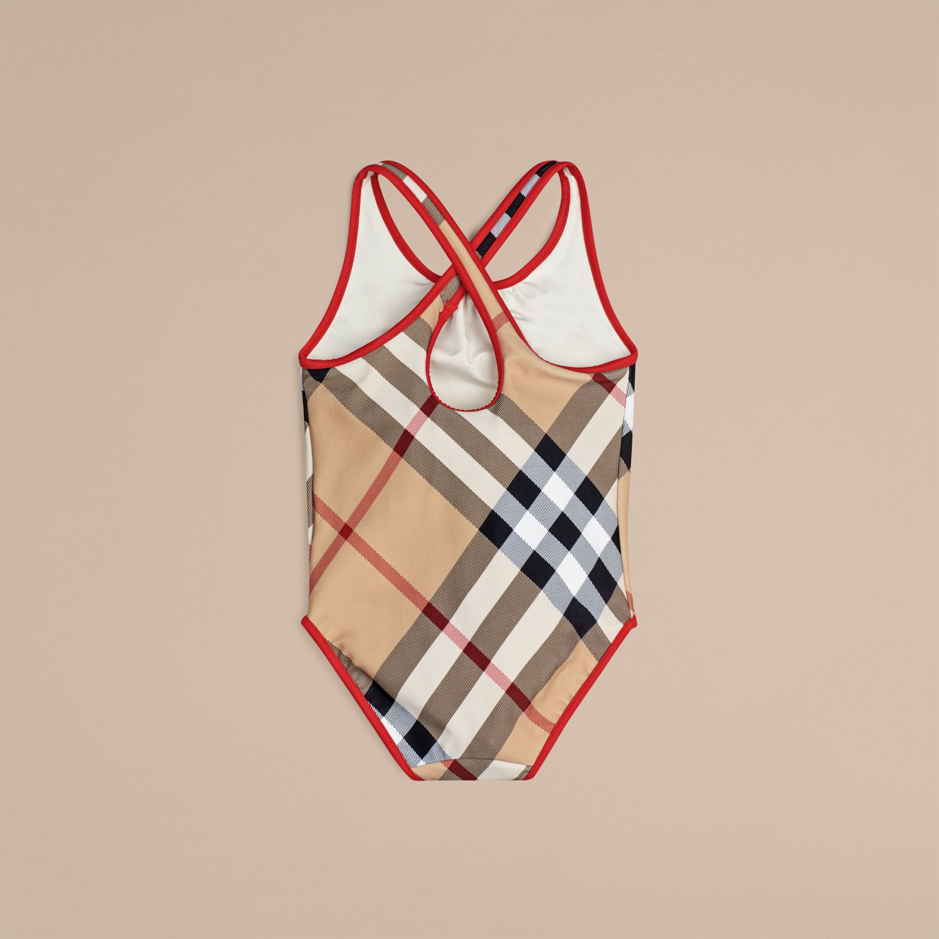 One-piece Check Swimsuit in New Classic - Girl | Burberry Australia - gallery image 2
