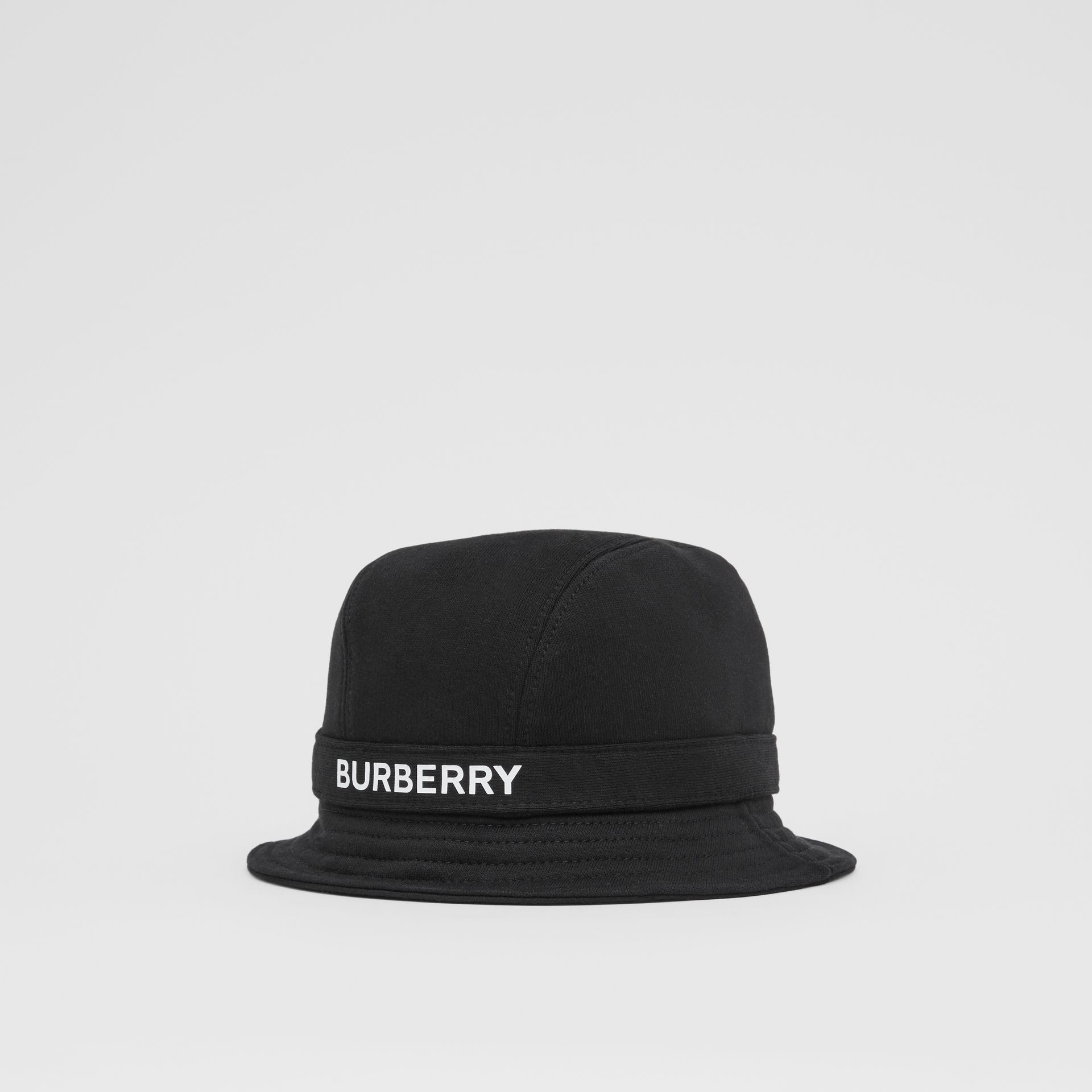 Logo Print Cotton Jersey Bucket Hat in Black | Burberry United Kingdom - gallery image 5