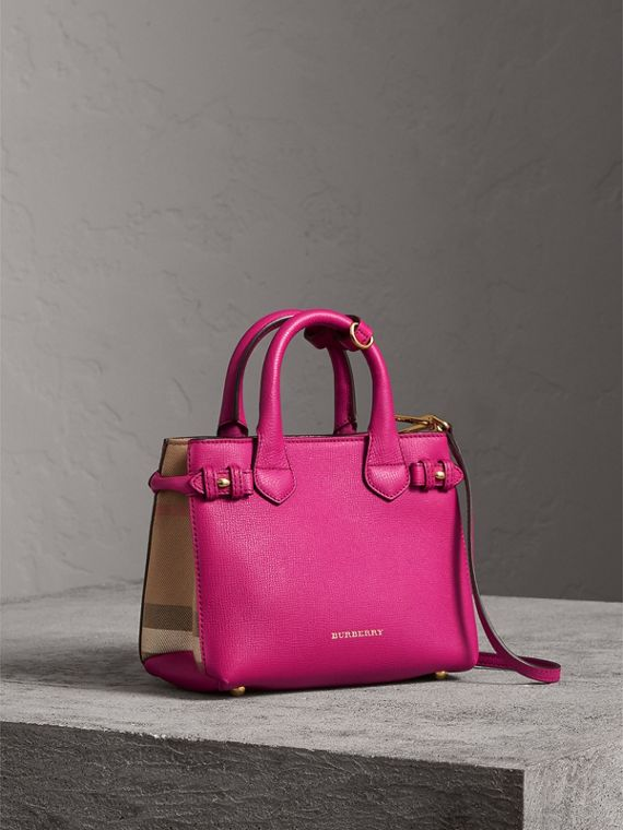 The Baby Banner in Leather and House Check in Brilliant Fuchsia