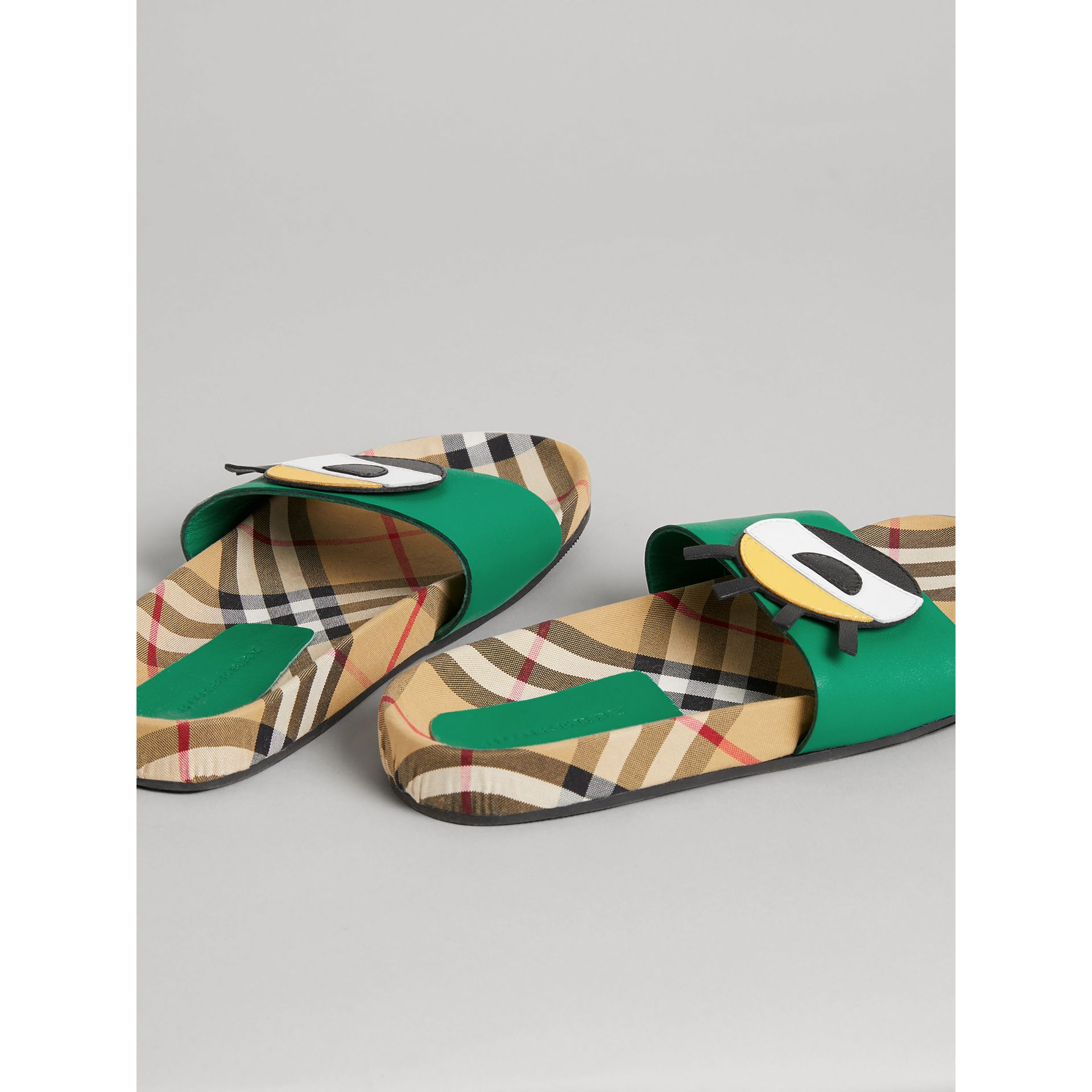 Eye Appliqué Vintage Check and Leather Slides in Bright Pigment Green | Burberry - gallery image 2