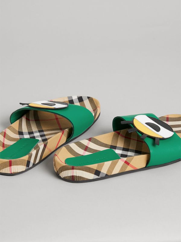 Eye Appliqué Vintage Check and Leather Slides in Bright Pigment Green | Burberry - cell image 2
